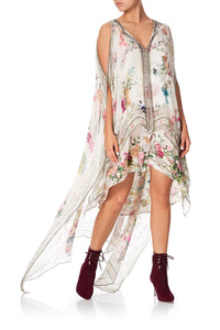 LONG SHEER OVERLAY DRESS JARDIN POSTCARDS
