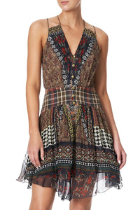 SHORT DRESS WITH SHAPED WAISTBAND PAVED IN PAISLEY