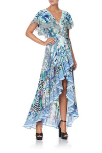 FRILL SLEEVE LONG DRESS WINGS OF LUXOR