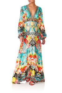 CAMILA GALAXY GIRL PRINTED LANTERN SLEEVE DRESS