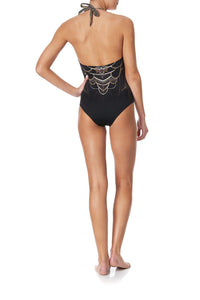 HALTER ONE PIECE WITH TRIM UNDER A FULL MOON