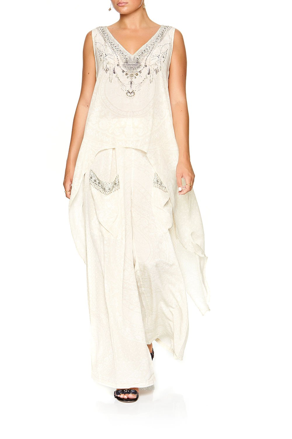 HIGH LOW CROSS OVERLAY TOP DENTELLE BLANCHE