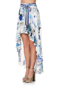 HIGH-LOW SKIRT WITH WAIST TIE WHITE SIDE OF THE MOON