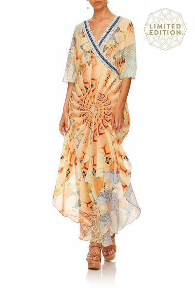 CAMILLA FOR THE FANS KAFTAN W WRAP FRONT & TIE BACK