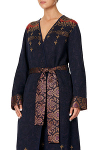 KNIT COAT WITH WOVEN DETAIL THIS CHARMING WOMAN