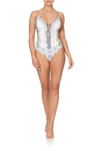 LACE FRONT V NECK ONE PIECE BEACH SHACK