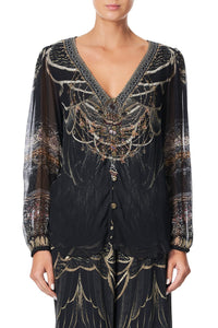LACE UP SIDE BLOUSE UNDER A FULL MOON