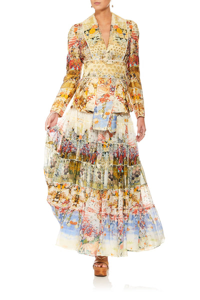 CAMILLA LADY LABYRINTH SHEER TIERED MAXI SKIRT