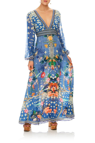 CAMILLA FARAWAY FLORALS LANTERN SLEEVE DRESS