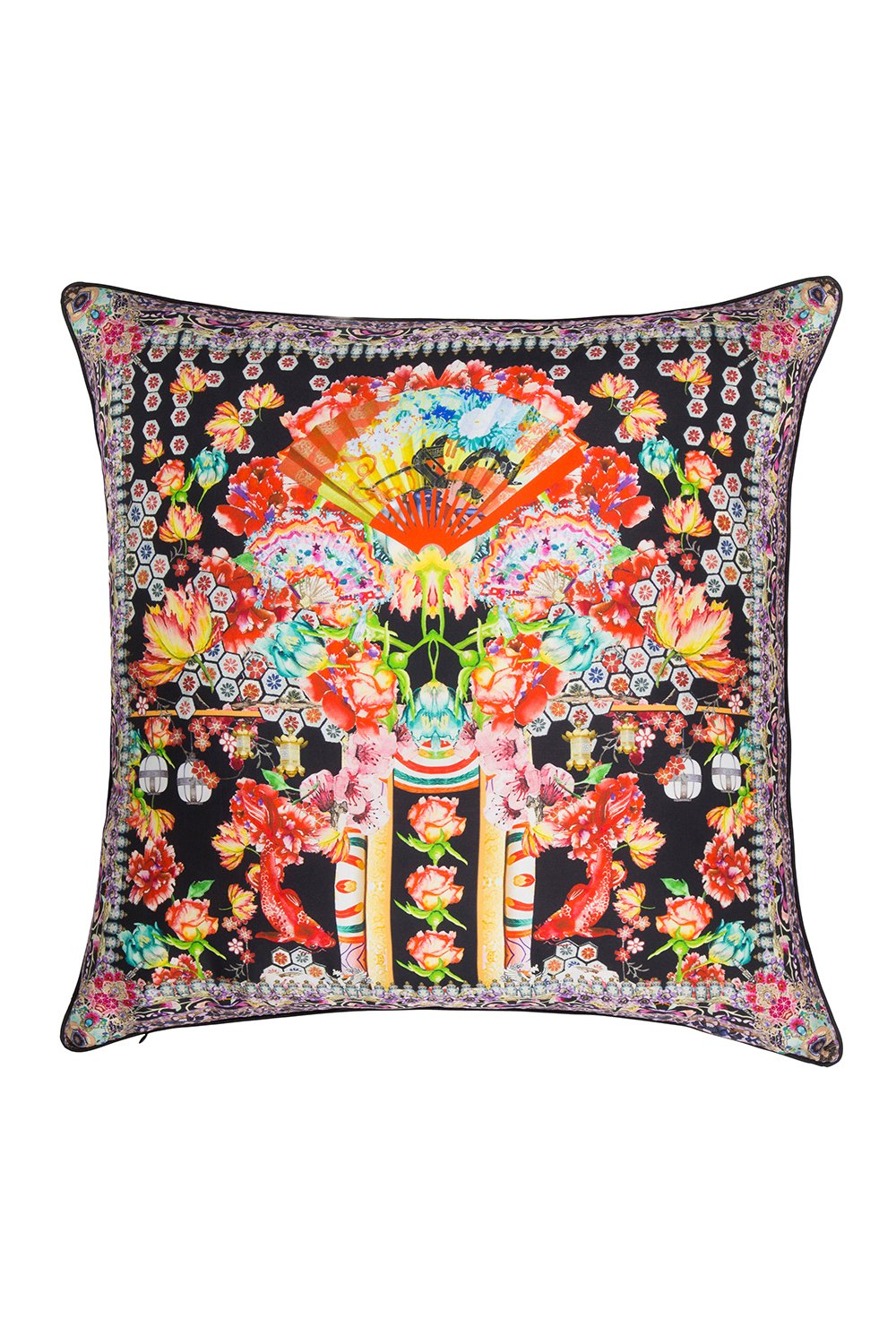 LARGE SQUARE CUSHION PAINTED LAND