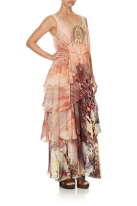 LAYERED FRILL LONG DRESS COASTAL TREASURE