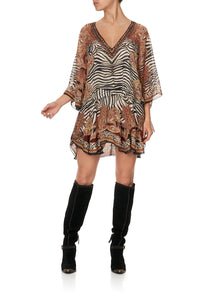 LAYERED FRILL SHORT DRESS WILD FIRE