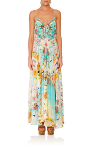 CAMILLA RETROS RAINBOW LONG DRESS W TIE FRONT