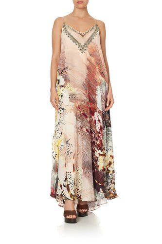 LONG DRESS WITH SHEER UNDERLAY COASTAL TREASURE