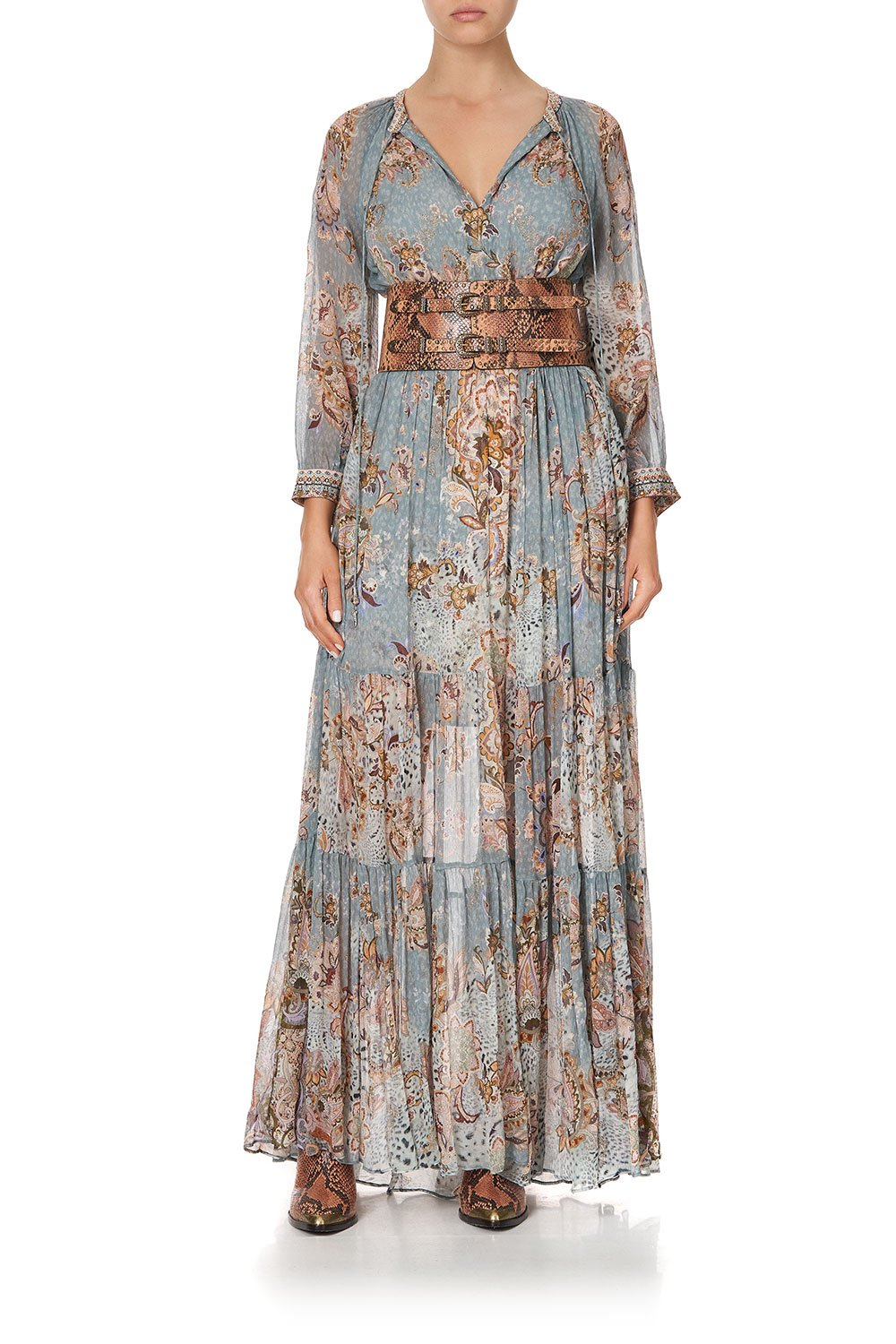 LONG GATHERED PANEL DRESS LE PALAIS DU ZAHIR