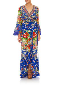 CAMILLA LONG SLEEVE WRAP DRESS PLAYING KOI