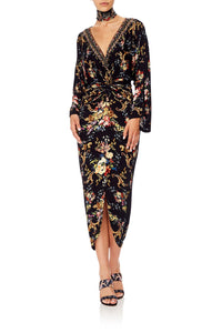 CAMILLA LONG SPLIT FRONT TWIST DRESS FRIEND IN FLORA