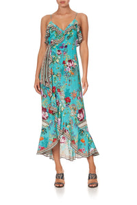 LONG WRAP DRESS WITH FRILL A SONNET FOR SATINE