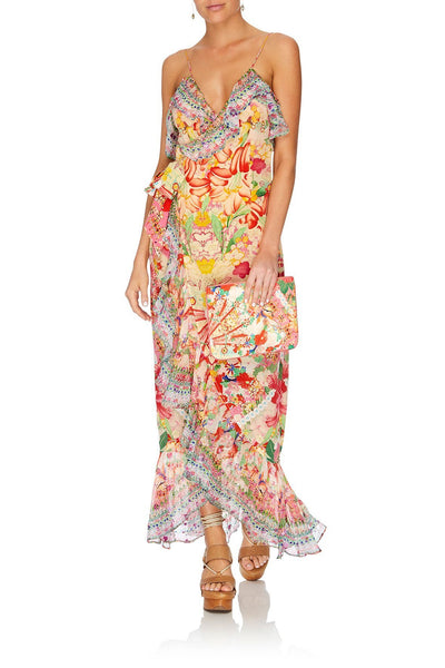 LONG WRAP DRESS WITH FRILL KIMONO KISSES