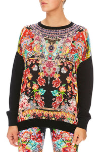 CAMILLA PAINTED LAND LOOSE FIT JUMPER W/ KNIT FRONT