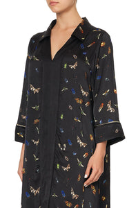 LOOSE SHIRT DRESS WITH CENTRE FRONT SPLIT LOVE BUG