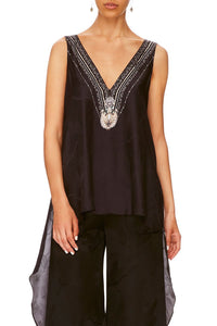 V-NECK TOP WITH SPLIT BACK SOLID BLACK