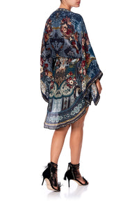 V-NECK KIMONO DRESS WITH TIE HOTEL BOHEME
