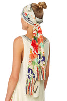 MS MAIKO KNITTED HEAD BAND W SILK SCARF
