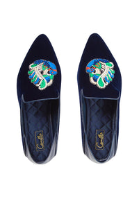 NAVY PEACOCK VELVET SLIPPER WITH FOLDED HEEL