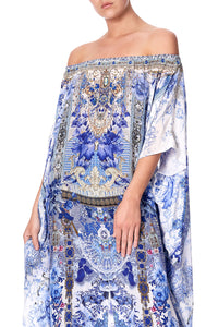 OFF SHOULDER KAFTAN WITH SPLIT PAINTED PROVINCIAL