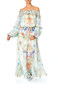 OFF SHOULDER SHIRRED DRESS VERSAILLES SKY