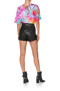 OVERSIZE TIE-DYE BAND TEE LET THE SUN SHINE