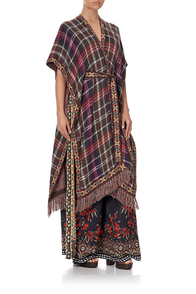 TIE FRONT PONCHO WITH FRINGING PAVED IN PAISLEY