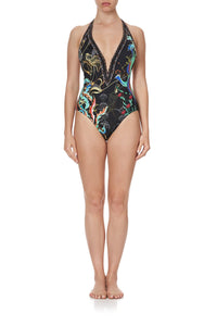 PLUNGE V HALTER ONE PIECE WISE WINGS