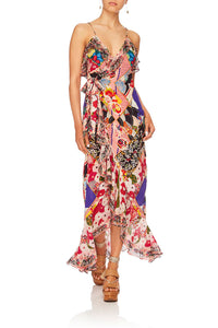 CAMILLA POSTCARDS FROM MARS LONG WRAP DRESS WFRILL