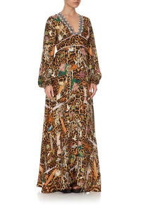 PRINTED LANTERN SLEEVE DRESS FAUNA ELECTRO