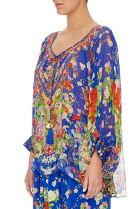 CAMILLA RAGLAN SLEEVE BLOUSE W/ CUFF PLAYING KOI