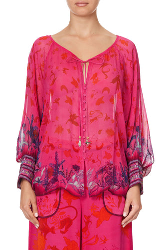 RAGLAN SLEEVE BUTTON UP TOP TROPIC OF NEON