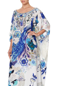 ROUND NECK KAFTAN WHITE SIDE OF THE MOON