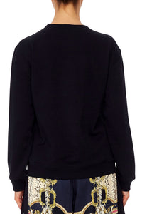 CAMILLA ROUND NECK SWEATER MIDNIGHT MEETING
