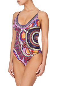 SCOOP NECK ONE PIECE WITH PLAIT STRAP WARLU DREAMING