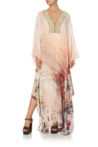 SHEER KAFTAN WITH TIE AND SLIP COASTAL TREASURE