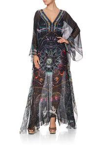 SHEER KAFTAN WITH TIE AND SLIP MIDNIGHT MOON HOUSE