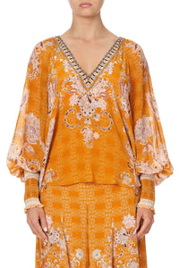 SHIRRED CUFF BLOUSE MARRAKESH MAIDEN