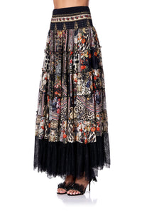 SHEER TIERED CIRCLE SKIRT MARAIS AT MIDNIGHT