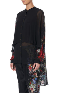 DRAPED BUTTON FRONT BLOUSE MS MATILDA