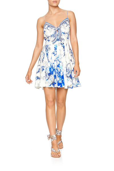 SHORT DRESS WITH TIE FRONT SAINT GERMAINE