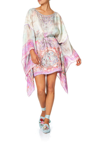 CAMILLA SHORT KAFTAN WITH SHEER SLEEVE ELECTRON LIBRE