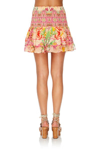 SHORT SHIRRED SKIRT KIMONO KISSES