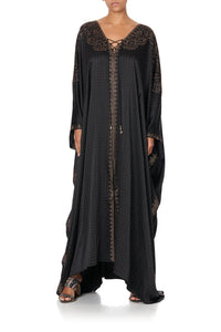 SPLIT HEM LACE UP KAFTAN LUXE BLACK